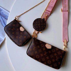 NWT LV Monogram Multi Pochette Bags Pinkl